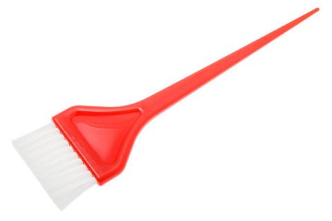 Кисть для окрашивания широкая красная с белым