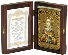 Инкрустированная икона Святая Емилия Кесарийская (Каппадокийская) 15х10см на натуральном дереве, в подарочной коробке