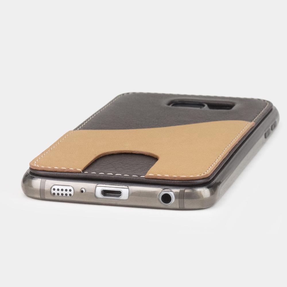 Чехол-накладка Andre для Samsung S6 из натуральной кожи теленка, темно-коричневого цвета