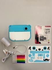 Детский фотоаппарат моментальной печати голубой мишка