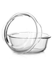 Кастрюля жаропрочная стеклянная 1,5 литра круглая с крышкой Borcam 59023 круглая форма с крышкой 22x19x11см