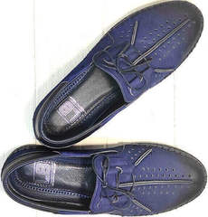 Легкие мокасины туфли мужские натуральная кожа street casual Luciano Bellini 91268-S-321 Black Blue.