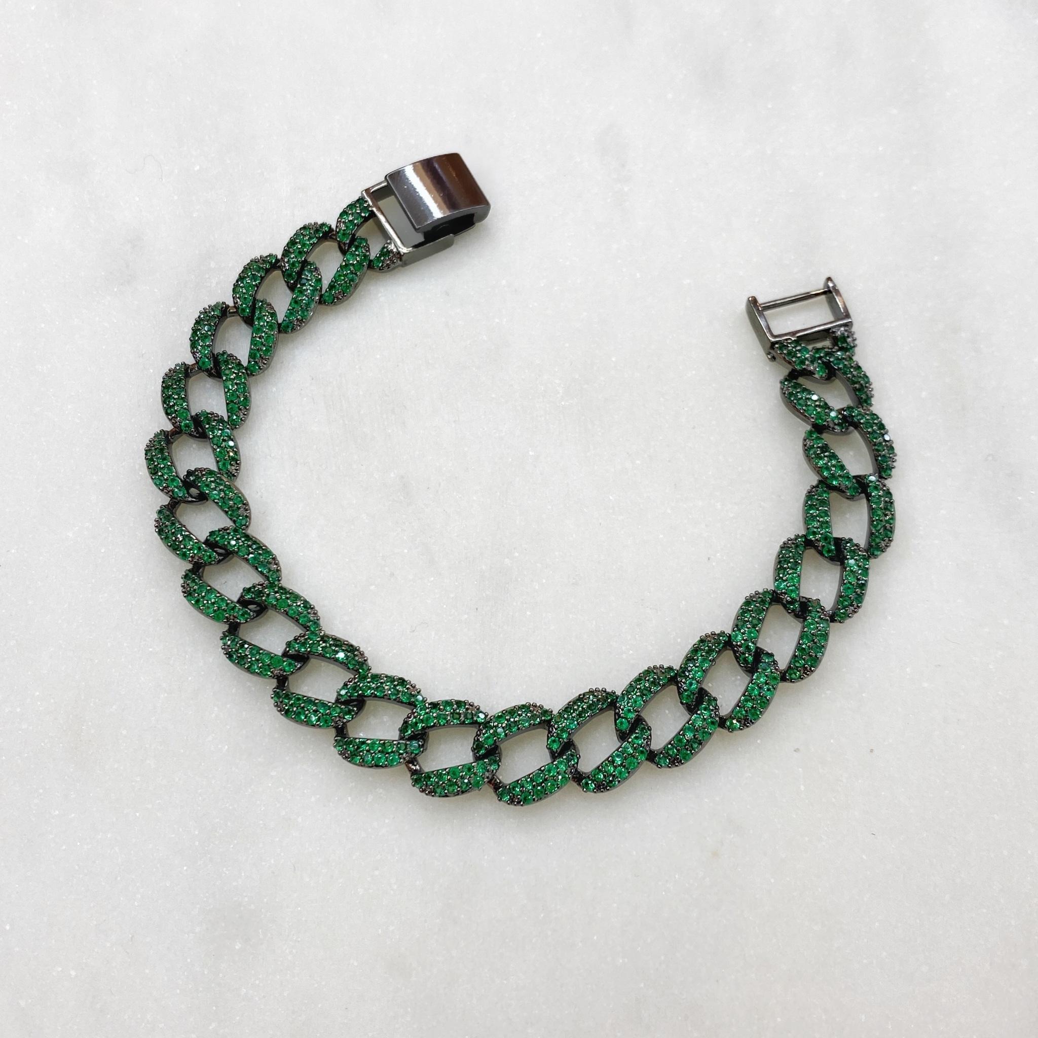 Браслет-цепь с цирконами (зеленый/черный)