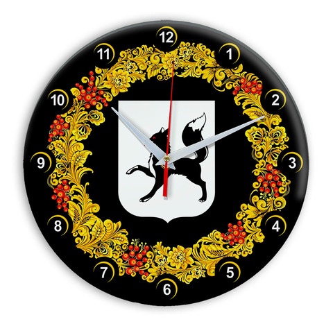 Часы в стиле Хохлома сувенирные Салехард 03
