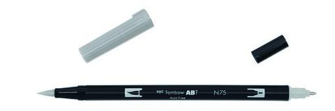 Маркер-кисть Tombow ABT Dual Brush Pen-N75, холодный серый 3