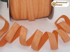 Резинка для повязок  с легким блеском морковная 16 мм