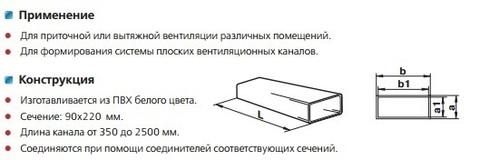 Воздуховод прямоугольный 220х90 1 м