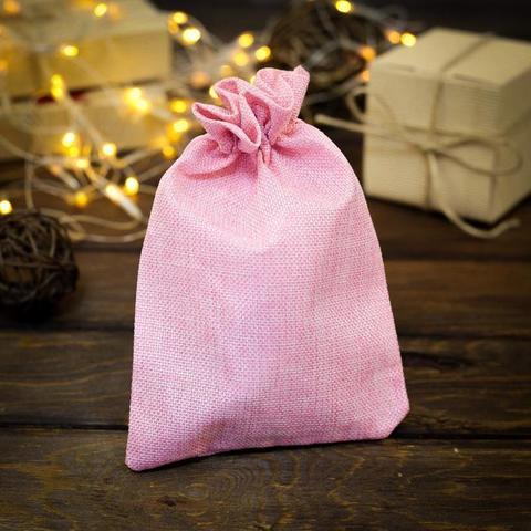 Мешочек из холщи, розовый, 15х21 см