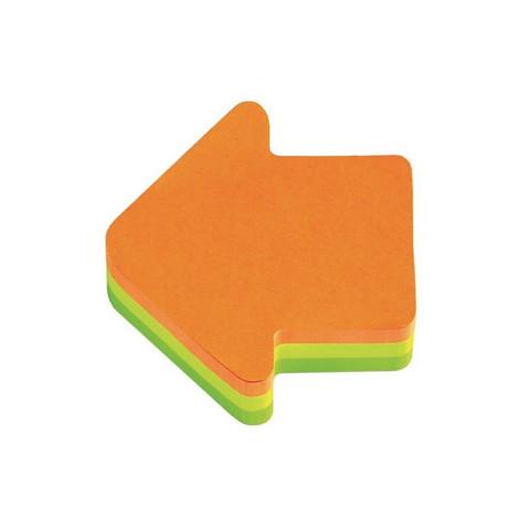 Стикеры фигурные Post-it Стрелка 70x70 мм неоновые 3 цвета (1 блок, 225 листов)