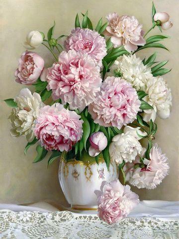 Алмазная Мозаика 40x50 Букет белых и розовых пионов в белой вазе (арт. GA70725)