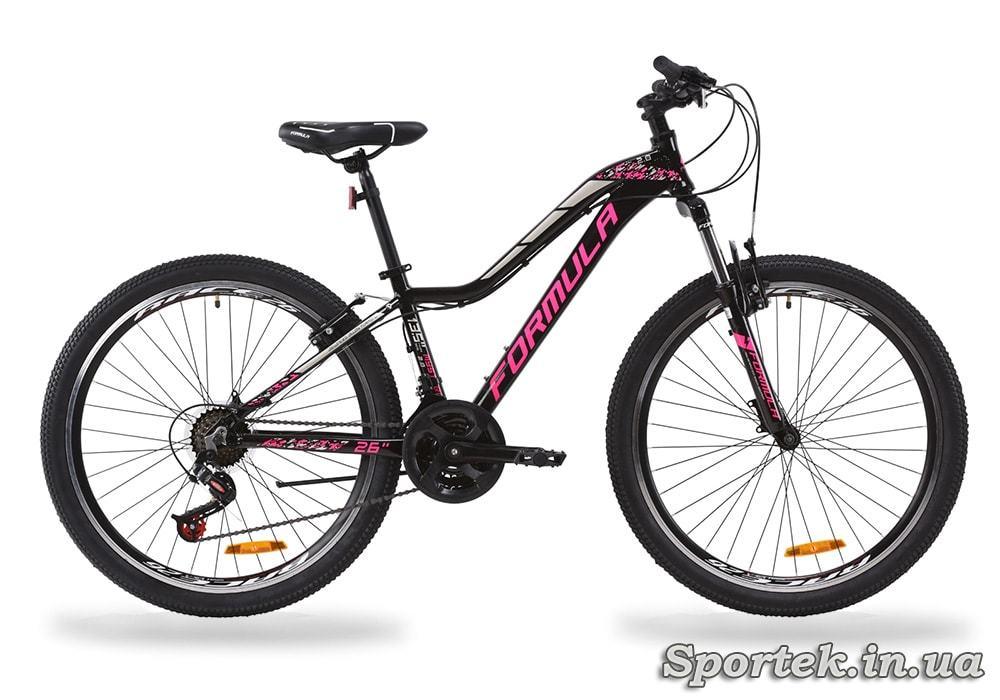 Горный женский алюминиевый велосипед Formula Mystique 2.0 AL AM VBR 2020 - черно-малиновый с серебристым