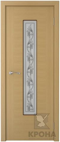 Дверь Крона Карат, стекло матовое с шелкографией, цвет дуб, остекленная
