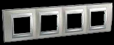 Рамка на 4 поста. Цвет Никель-алюминий. Schneider electric Unica Top. MGU66.008.039