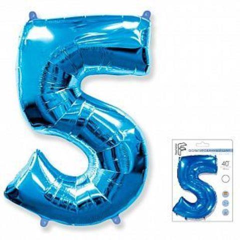 Цифра пять - синий