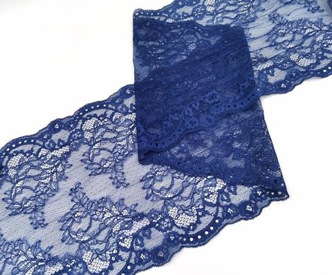 Эластичное кружево, 22 см, темно-синее, м, (Арт: EK-2286), м