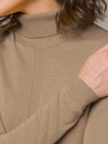Женская водолазка бежевого цвета из шерсти и шелка - фото 3