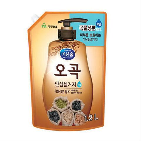 Mukunghwa Увлажняющее средство для мытья посуды, овощей и фруктов в холодной воде 5 злаков 1,2 л в мягкой упаковке