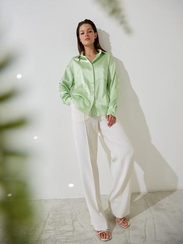 Блуза с карманом из шелка зеленый