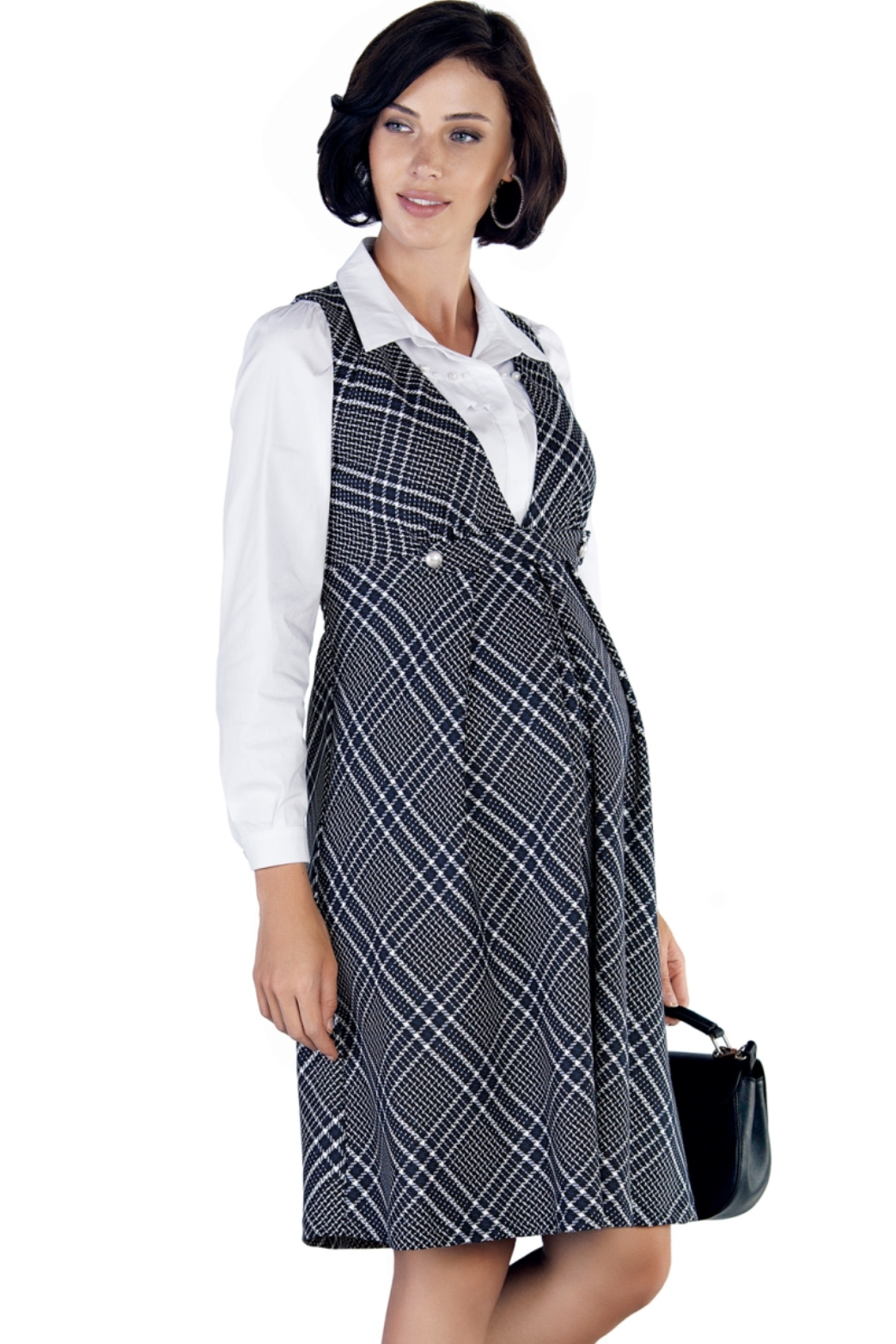 Сарафан для беременных 09768 черно-белый