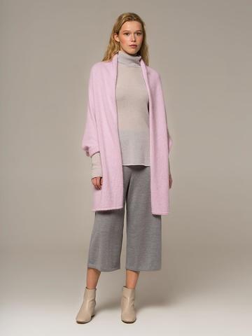 Женский шарф с рукавами розового цвета из ангоры - фото 1