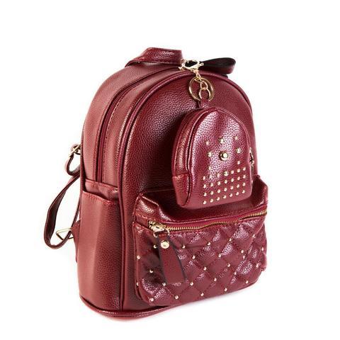 Женский средний рюкзак 20х26х13 см с брелком-кошельком красный 2968-4