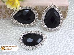 Камень-капля в стразовом обрамлении  черный (10 шт)