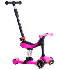 Самокат-трансформер c ручкой для детей 3-12 лет, макс. нагрузка 50 кг, BIBITU ONE SKL-L-05, Розовый