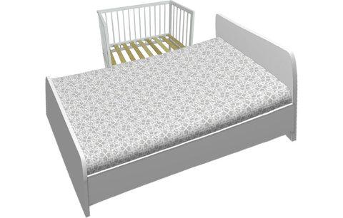 Кроватка детская приставная Фея 100 белый