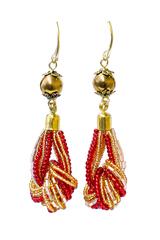 Серьги-узелки из бисера золотисто-красные