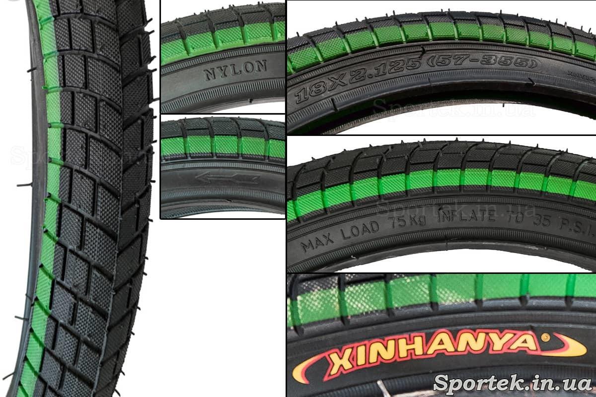 Велосипедная покрышка 18 х 2,125 дюйма (57-355 ISO) Xinhanya (Китай) - надписи