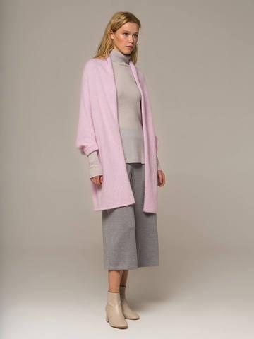 Женский шарф с рукавами розового цвета из ангоры - фото 2