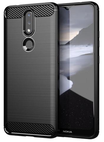 Черный чехол в стиле карбон на Nokia 2.4, серия Carbon от Caseport