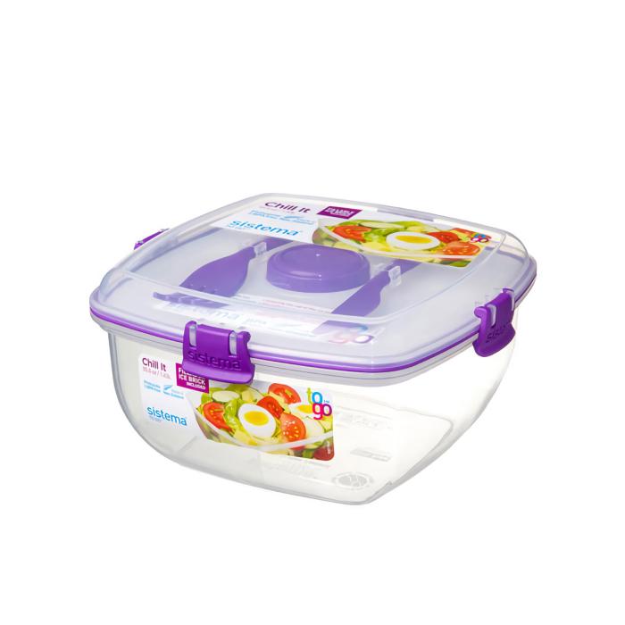 """Контейнер для салата с охлаждающим элементом Sistema """"TO GO"""" 1,63 л, цвет Фиолетовый"""