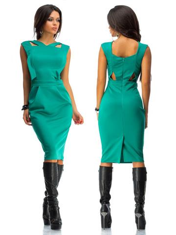 Платье миди с вырезами на спине, цвет бирюза