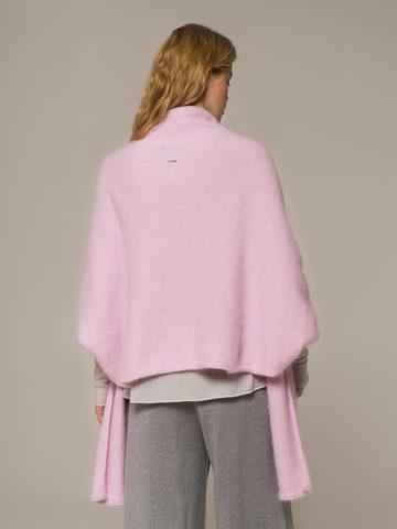 Женский шарф с рукавами розового цвета из ангоры - фото 4