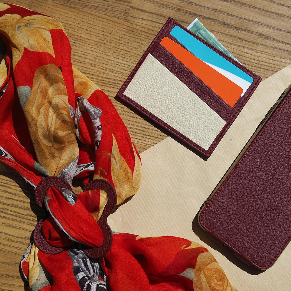 Картхолдер-визитница Carte Bicolor из натуральной кожи теленка, бордового цвета