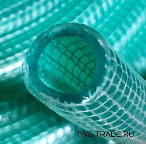 Шланг Ø 14мм армированный усиленный (вязаный) прозрачный силиконовый толщина стенки 4 мм (100 м в бухте)