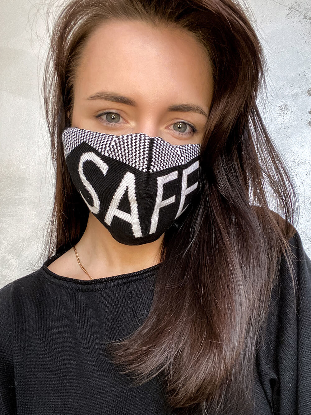 Женская гигиеническая трикотажная маска с принтом - фото 1