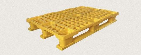 Поддон пластиковый перфорированный 1200x800x160 мм с полозьями, усиленный металлическим профилем. Цвет: Желтый