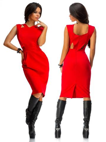 Платье миди с вырезами на спине, цвет красный