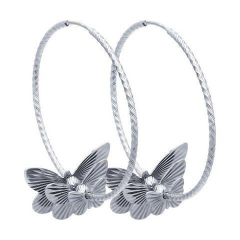 94140038- Серьги конго из серебра с бабочками