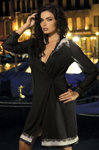 Халат черный с кружевом Mia-Mia 12017