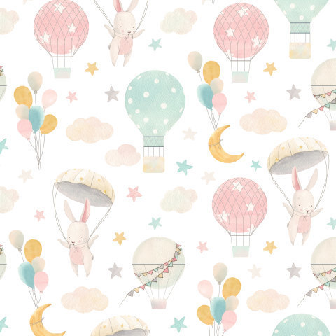 Воздушный шар и зайка. Baby cute pattern with hares.