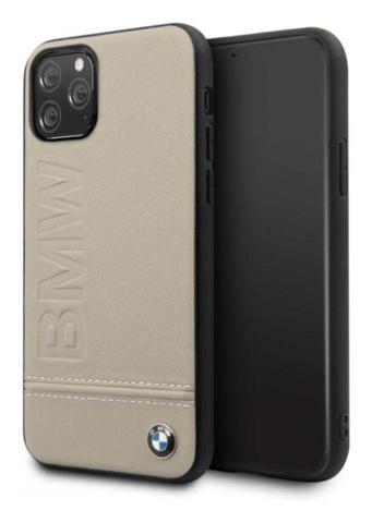 BMW / чехол для телефона iPhone 11 Pro | Signature Logo imprint Hard Leather Taupe