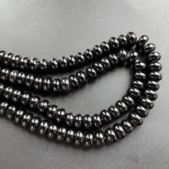 Бусина агат черный рондель гладкий 10 х 6 мм