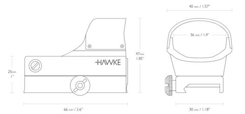 Прицел коллиматорный Hawke Reflex Red Dot Sight Sensor Control (5МОА)
