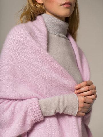 Женский шарф с рукавами розового цвета из ангоры - фото 5
