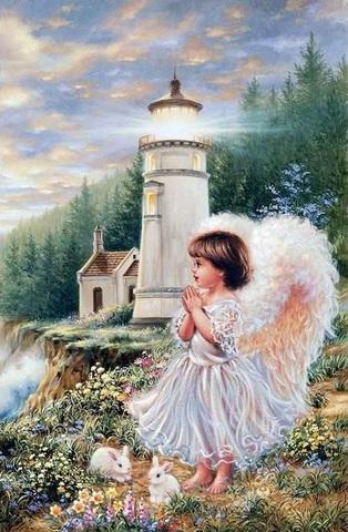 Картина раскраска по номерам 40x50 Ангелок и кролики у маяка