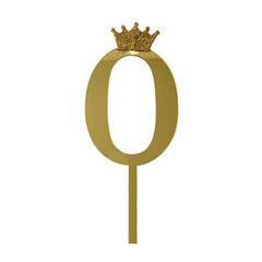 Y Топпер цифра 0 Корона GOLD 18см, 1шт.