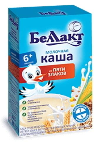 Каша сухая молочная из пяти злаков с 6-ти месяцев 250г. Беллакт